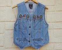Vintage 90s Christmas Jean Denim Vest Ugly Vest