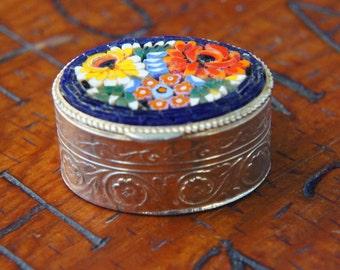 Vintage 70s Italian Micro Mosaic Pill Box Ring Box Retro Boho Mod