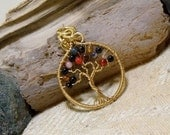 On Sale Small Brass Agate Gemstone Tree of Life
