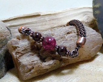 Tourmaline & Garnet Antique Copper Viking Knit Bracelet size 7