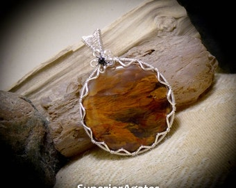 Scenic Petrified Wood Wire Wrapped Stone Gemstone Necklace Pendant