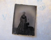 antique miniature GEM tintype photo - woman, full length, late 1800s - gtg36