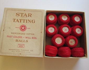 vintage STAR TATTING box with tatting thread - Star tatting thread, J & P Coats tatting thread - red tatting thread