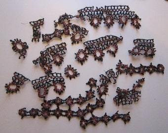 salvaged Victorian bead work on wire - as is, jet black beads, faceted marquise beads
