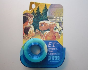 vintage E.T. invisible tape - vintage ET advertising - Papercraft tape collectibles - circa 1982