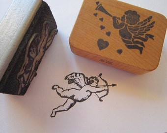 2 vintage rubber stamps - CHERUB stamps - used