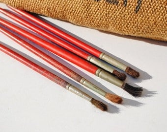 5 Vintage Red Wooden Paint Brushes (G) - Paint Brushes, Home Decor, Display, Photo Props, Mixed Media Supplies, Assemblage Supplies, Brushes