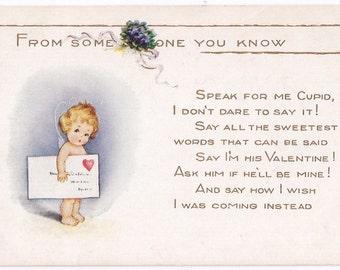 Antique Whitney Made Valentine's Day Postcard - Valentines, Valentine's Day, Cupids, Whitney Postcards, Love, Hearts, Paper, Ephemera