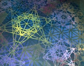 XXL Metatron's Cube Mandala Chakras T-Shirt Handpainted Sacred Geometry Mandala w/ Flower of Life, Honeycomb, Fractal Hexagons