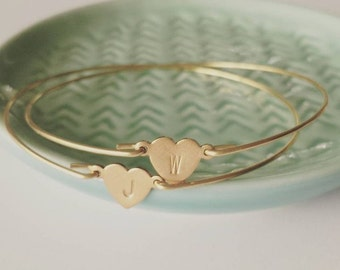 Personalized brass heart bangle, dainty modern jewelry