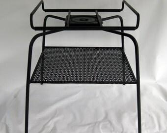 Mid Century modern swivel top metal TV stand side table garden cart