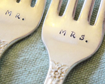 Wedding Cake Forks: Vintage Wedding Forks, Custom Personalized Silver Forks, Recycled Wedding Silverware, Hand Stamped Flatware, Gift Boxed