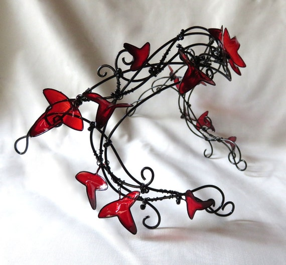 Black vine circlet with red leaves, womens, halloween, accessories, headband, handmade