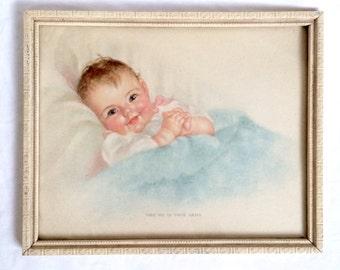 Charlotte Becker Lithograph Baby Print / Vintage Nursery Decor / Framed Vintage Lithograph