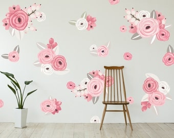 Vinyl Wall Sticker Decals - Graphic Flower Clusters in Pink