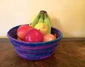 Rope Coiled Basket - Purple Bowl - Rag Gift Basket - Fruit Basket