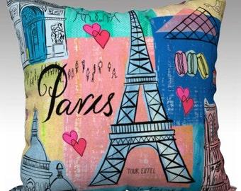 Paris, France Decorative cushion, 18x18