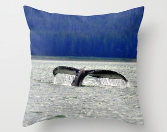 Humpback Whale Tail Pillow Cover, Throw Pillow, Rustic Decor, Cabin Decor