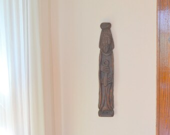 vintage wooden spanish monk wall hanging
