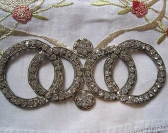 Vintage Rhinestone Appliqué Sew On Embellishment Belt Buckle Sash Buckle Bridal Sash Buckle