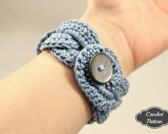 CROCHET PATTERN - Crochet Bracelet Infinity Link Cuff, Crochet Bracelet, Crochet Cuff Pattern, Crochet Jewelry Pattern