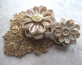 kanzashi flower drape clip bun cage locket vintage flower clip set