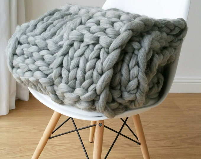 Featured listing image: Giant Grey Chunky Arm Knit Blanket Luxury Bed runner Chunky Knit Throw Merino Wool Blanket UK seller