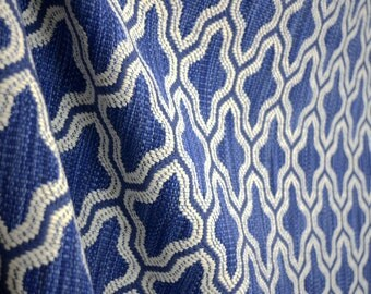 Mosaic Blueberry Blue And Ivory Geometric Fabric