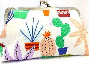 clutch purse - totally cactus  - 8 inch metal frame clutch purse - large purse- cactus-colourful- clutch- kisslock