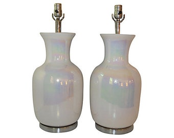 White Opalescent Lamps, Pair