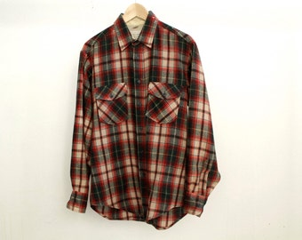vintage men's TWIN Peaks 60s woolrich style button up wool FLANNEL