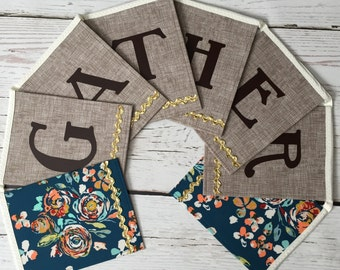 Gather Banner - Fall Banner- Teal and Brown Fabric Banner