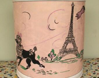 Vintage Pink Poodle Paris Pearl Wick Waste Basket