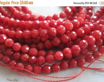 """20% OFF ON SALE 16"""" long (118 pcs) Orangle Red Coral 4mm Faceted Round Beads, Grade C, Gemstone Beads"""