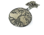 Etched silver necklace, sterling silver jewelry, tree pendant