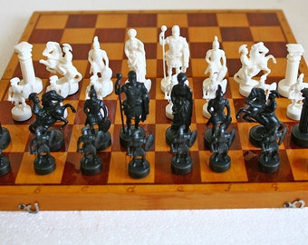 "Vintage Soviet Chess Set - Full Set - Wood and Plastic - 17"" inch board - 1980s - from Russia / Soviet Union / USSR"