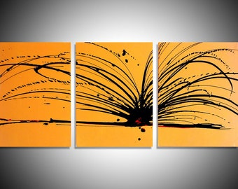 modern art painting triptych contemporary yellow large wall hanging huge office art 3 piece oversized original artwork Abstract  3 SIZES