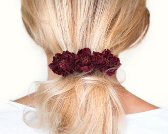 Dark red  leather flowers french barrette hair clip