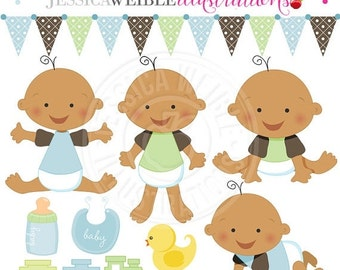SALE Baby Boy V2 Cute Digital Clipart for Card Design, Scrapbooking, and Web Design, Baby Graphics
