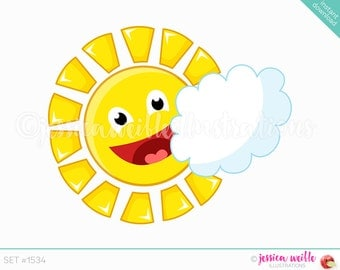 Instant Download Sunshine Cloud Clip Art, Cute Digital Clipart, Sun Clip art, Sunny Day Graphic, Smiling Sun and Cloud Illustration, #1534