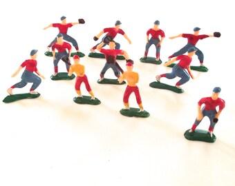 Painted Plastic Baseball Figures, Vintage Set, Team of 9 Plus 2 Batters (A1)
