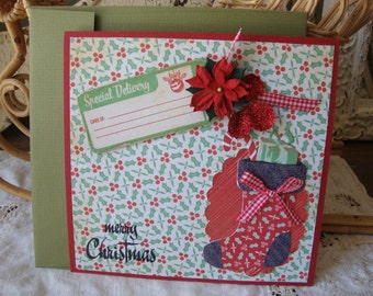 Christmas Card red and green Vintage inspired Christmas hostess gift greeting card