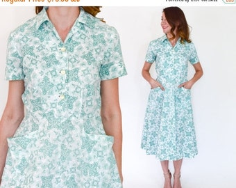 SummerS SALE 40s Floral Cotton Dress | White Green Floral Print Day Dress | Small