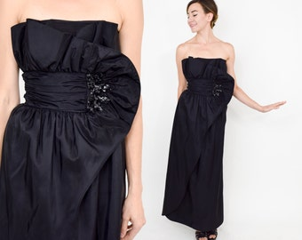 70s Black Prom Dress | Strapless Sequin Evening Party Dress | Extra Small