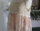 French Sugar Couture - Linen and Lace Collection - Up-Cycled Vintage 1930's Ecru Lace and 1980's Peach Fabric Tank Top - Altered Couture