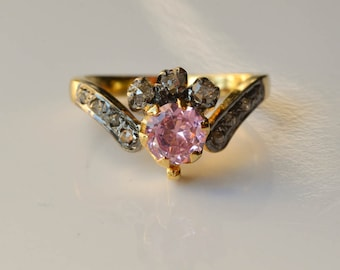 Pink Sapphire and Rose Cut Diamond Ring Faux Stone Alternative Engagement Ring Size 7
