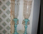 Shabby FABULOUS French Chippy Aqua/Turquoise Candle Holders Hurricane Starry Depression Glass Tops Glass Prisms Heavy Vintage Beauties