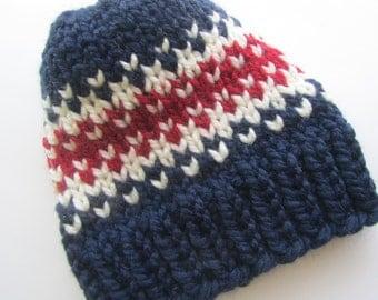Red White Blue Fair Isle Knit Hat, Fair Isle Hat, Knit Hat, Women's Knit Hat, Men's Knit Hat, Hand Knit Hat, Knit Hat, Chunky Knit Hat