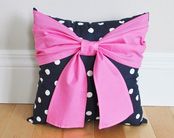 Pink Bow on Navy Polka and White Polka Dot Pillow 14x14 - Dorm Pillow- Girls Room Pillow- Nursery Pillow