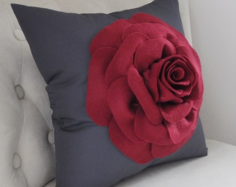 Gray Pillow Cover, Dark Gray, Charcoal, Ruby Red Rose Pillow,  Grey Pillow, Pillow Sham, Throw Pillow, Bedroom, Living Room Dorm Flower